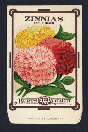 Zinnias Antique Burt's Seed Packet