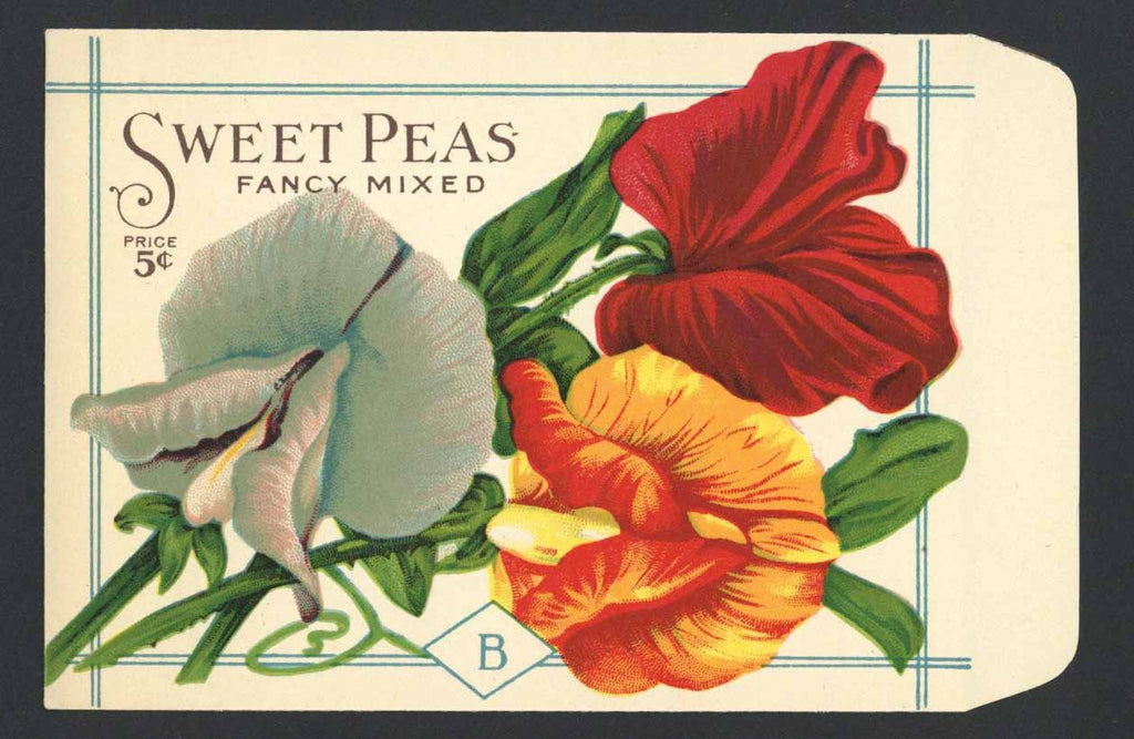 Sweet Peas Antique Burt's Seed Packet, L, Fancy Mixed