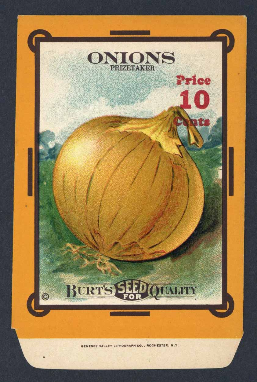 Onions Antique Burt's Seed Packet, Prizetaker, L