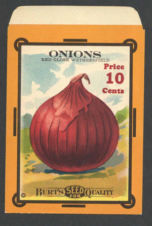 Onions Antique Burt's Seed Packet, Red Globe, L