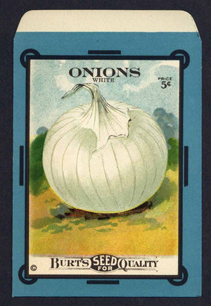 Onions Antique Burt's Seed Packet, White, L
