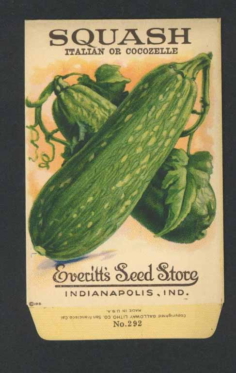 Squash Antique Everitt's Seed Packet, Italian