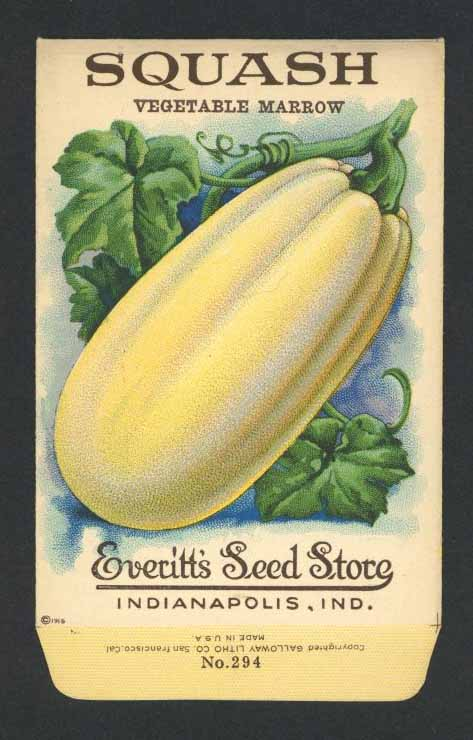 Squash Antique Everitt's Seed Packet, Marrow