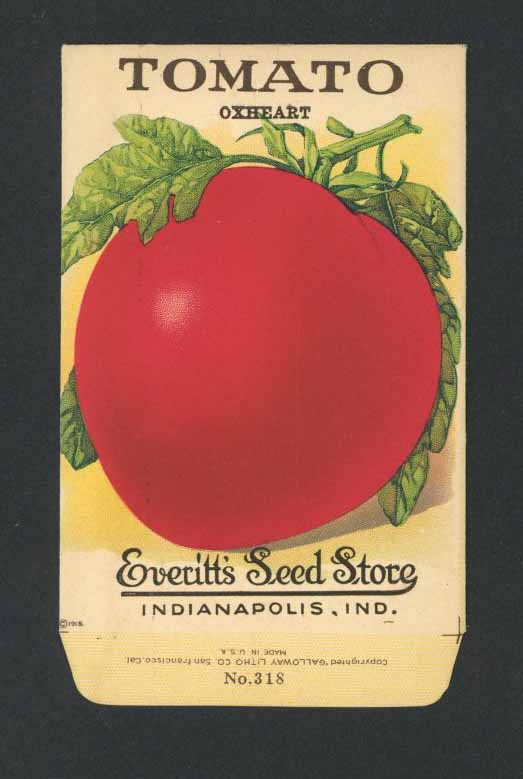 Tomato Antique Everitt's Seed Packet, Oxheart