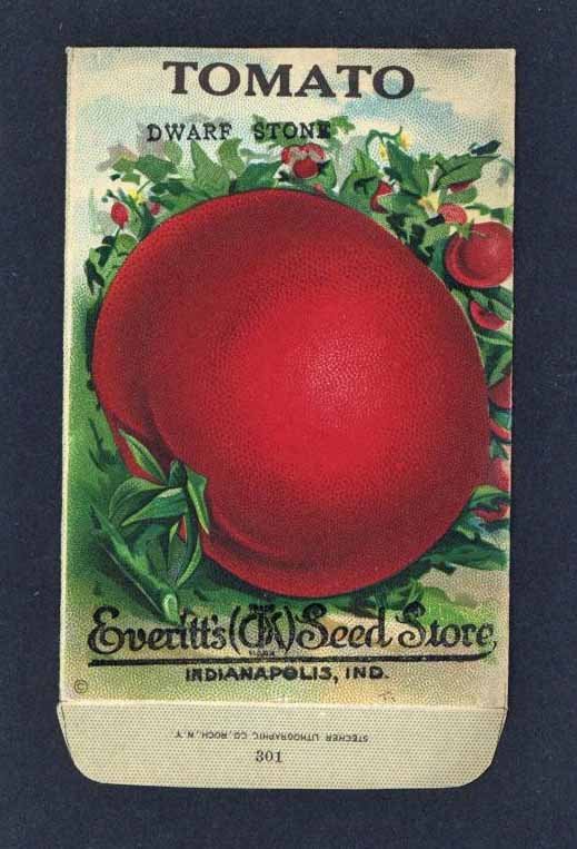 Tomato Antique Everitt's Seed Packet, Dwarf Stone