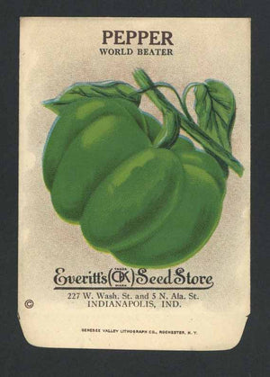 Pepper Antique Everitt's Seed Packet, World Beater, g