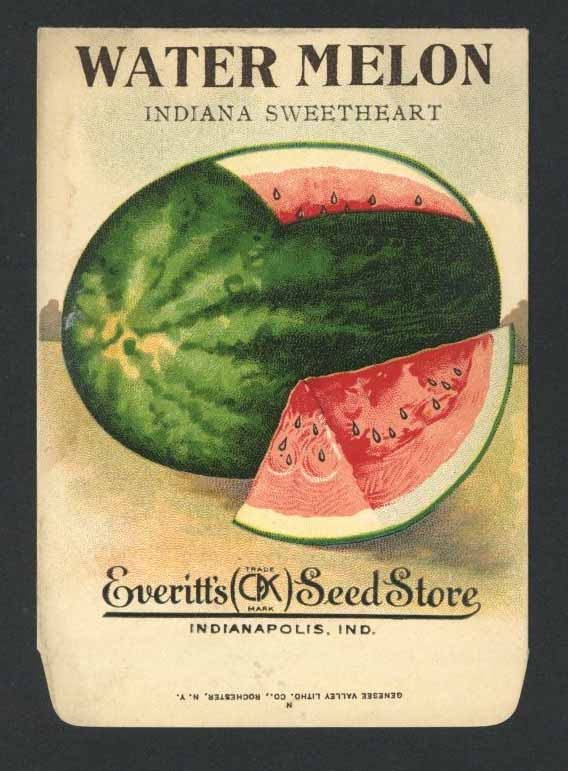 Watermelon Antique Everitt's Seed Packet, Indiana Sweetheart