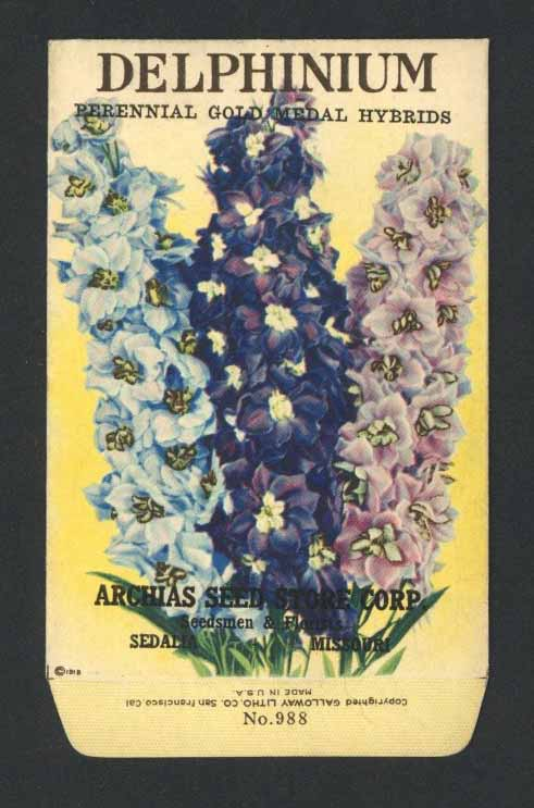 Delphinium Antique Archias Seed Packet, Gold Medal