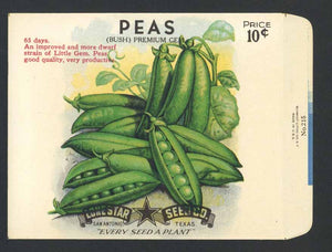 Peas Vintage Lone Star Seed Company Antique Seed Packet, Bush