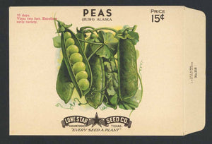 Peas Antique Lone Star Seed Packet, Bush Alaska
