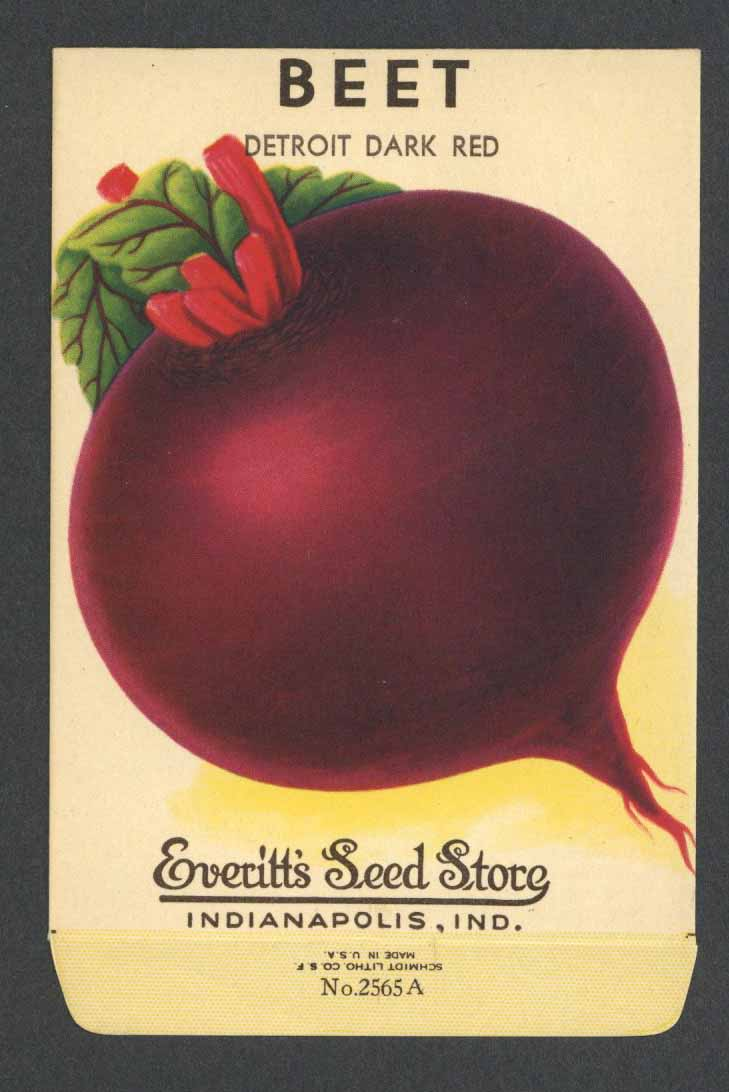 Beet Vintage Everitt's Seed Packet, Detroit Dark Red