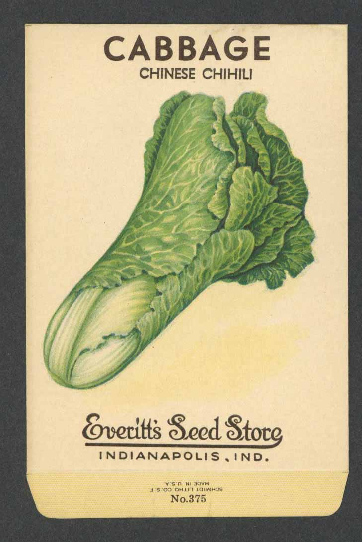 Cabbage Vintage Everitt's Seed Packet, Chinese Chihili