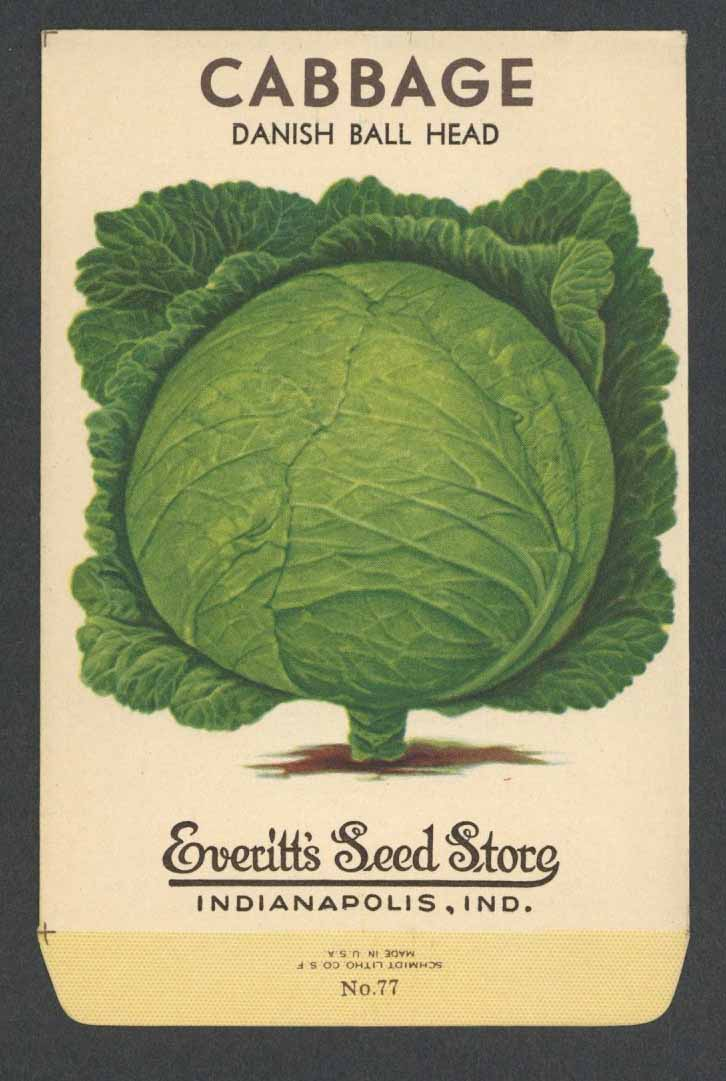Cabbage Vintage Everitt's Seed Packet, Danish Ball Head