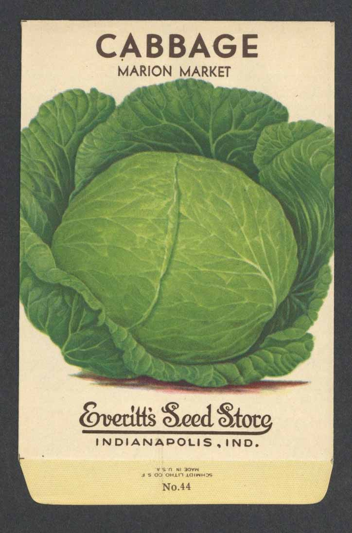Cabbage Vintage Everitt's Seed Packet, Marion Market