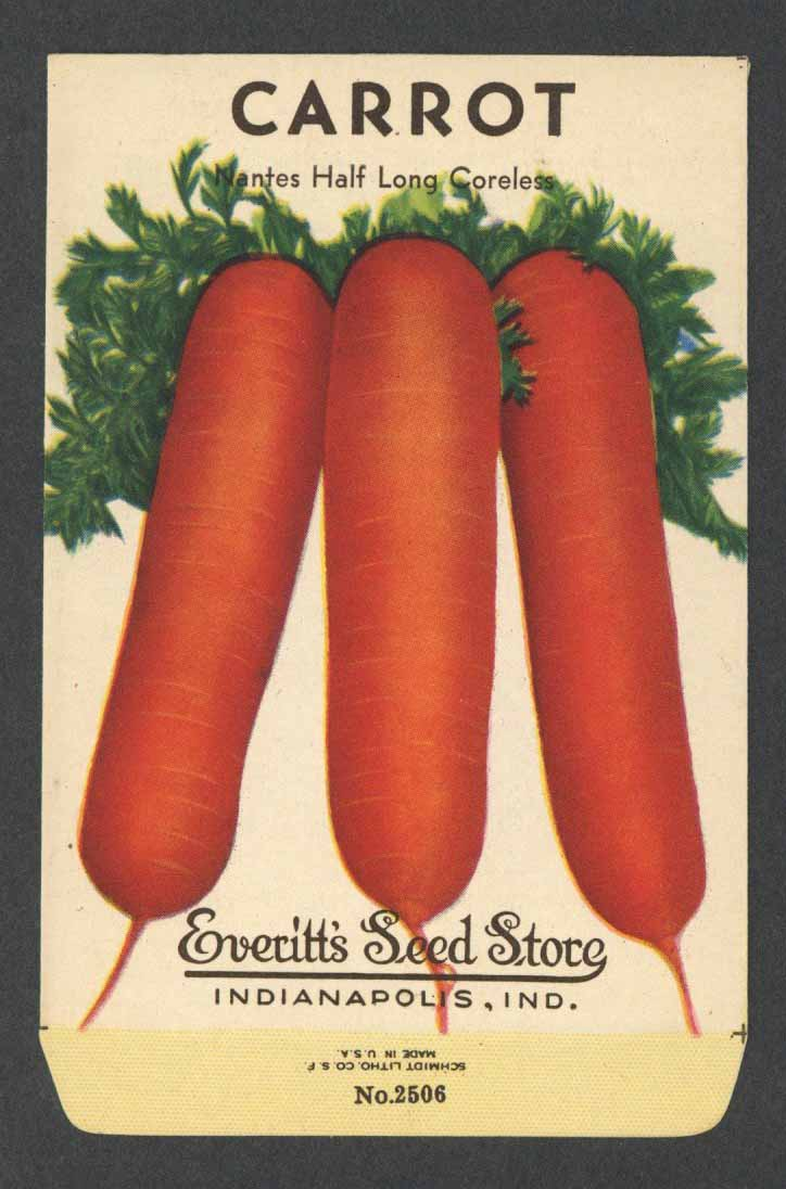Carrot Vintage Everitt's Seed Packet, Nates Half Long