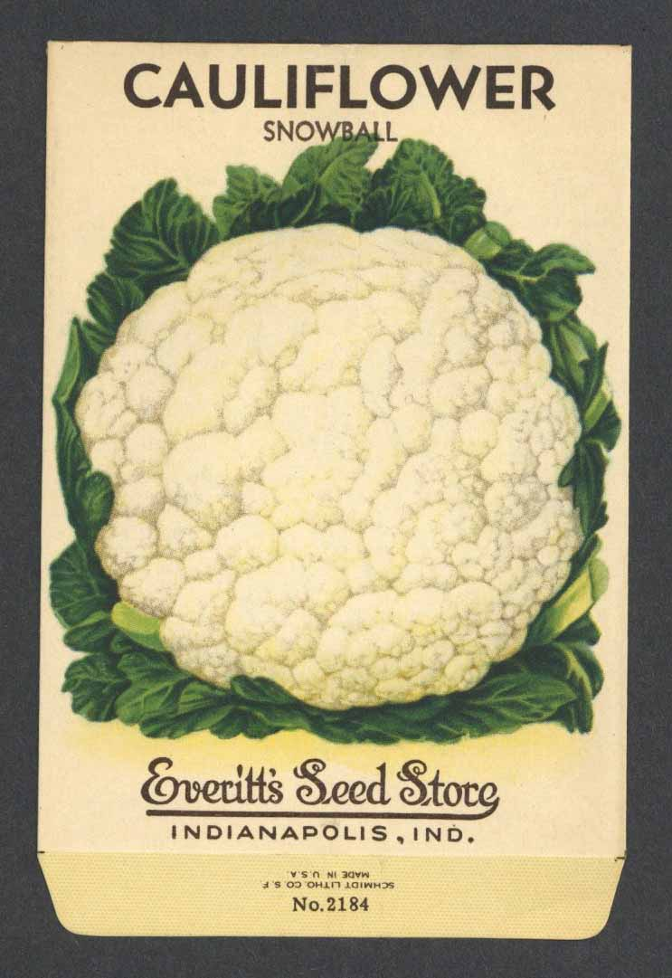 Cauliflower Vintage Everitt's Seed Packet, Snowball