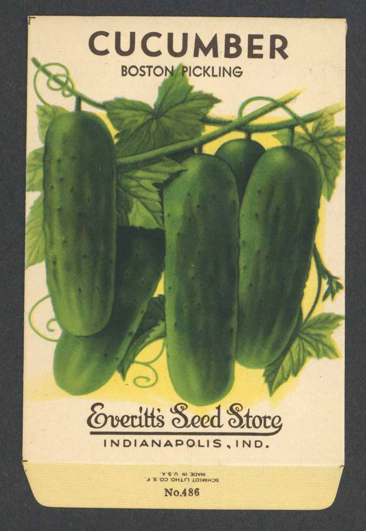 Cucumber Vintage Everitt's Seed Packet, Boston Pickling