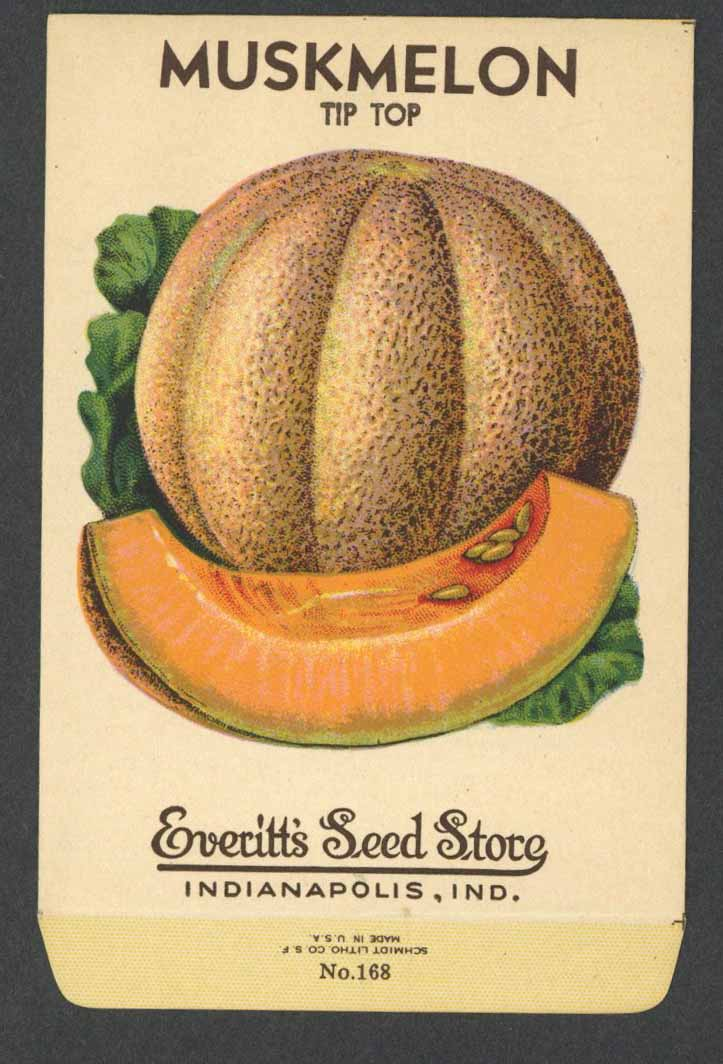 Muskmelon Vintage Everitt's Seed Packet, Tip Top