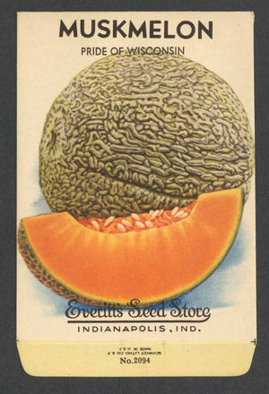 Muskmelon Vintage Everitt's Seed Packet, Pride of Wisconsin