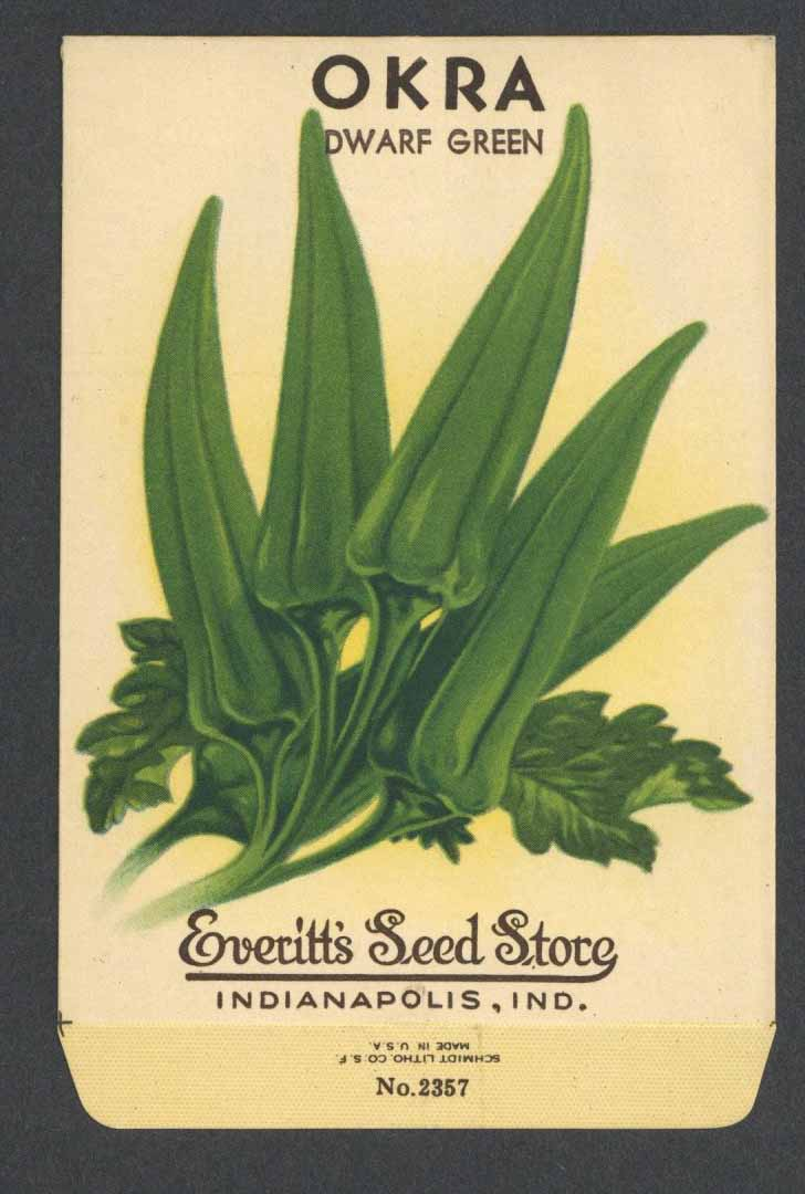 Okra Vintage Everitt's Seed Packet, Dwarf Green