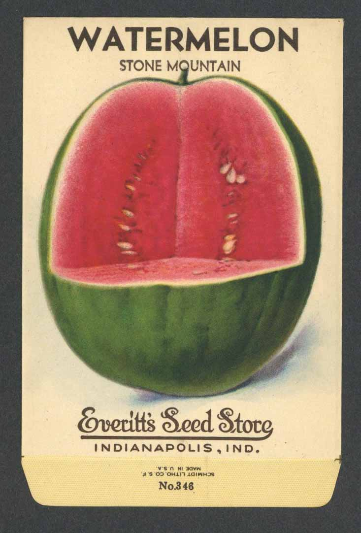 Watermelon Vintage Everitt's Seed Packet, Stone Mountain