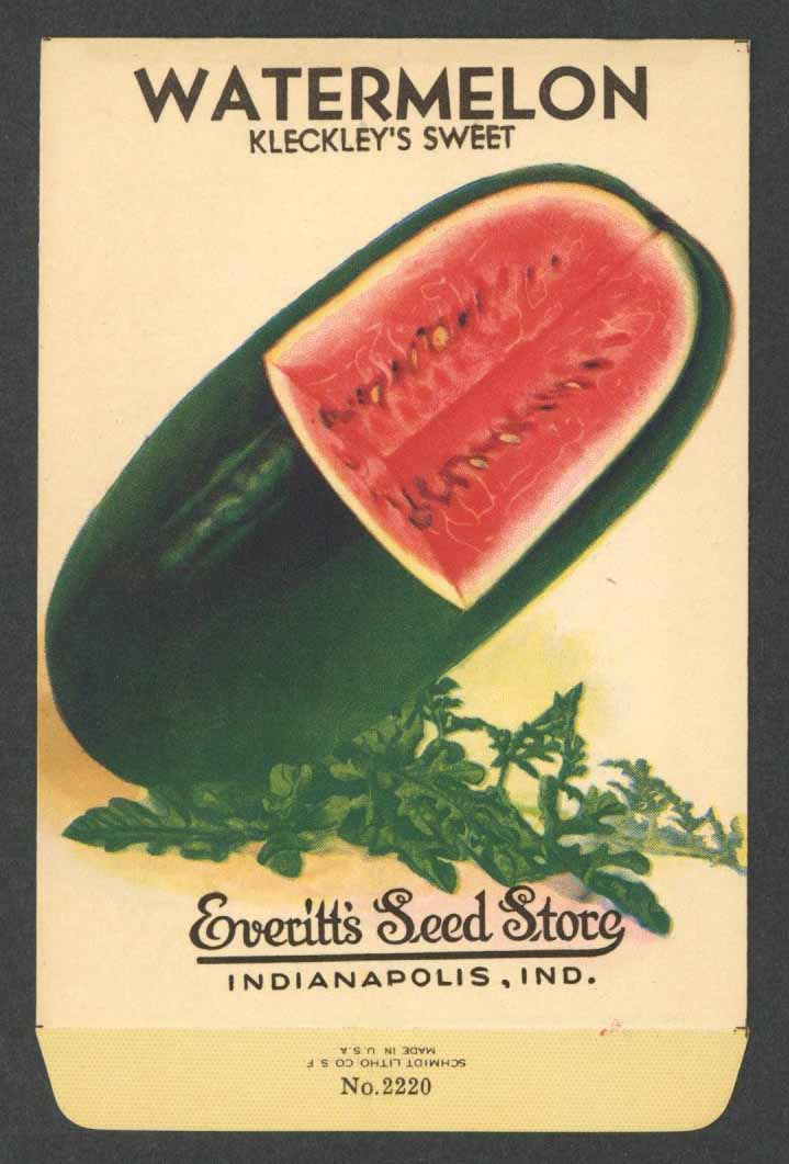 Watermelon Vintage Everitt's Seed Packet, Kleckley's Sweet