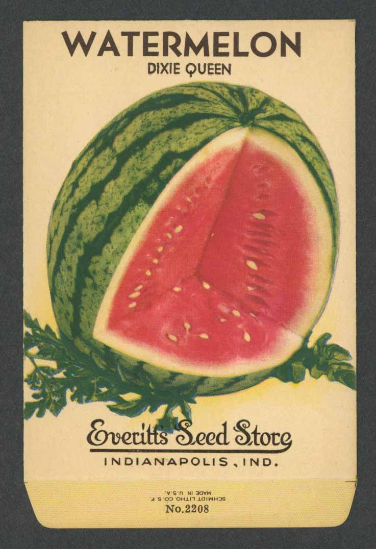 Watermelon Vintage Everitt's Seed Packet, Dixie Queen