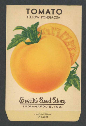 Tomato Vintage Everitt's Seed Packet, Yellow Ponderosa