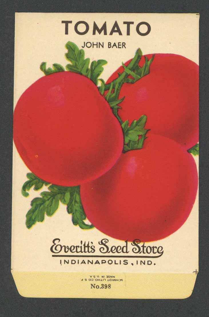 094 Grosso John Baer TOMATO Antique Seed Packet Card Seed Country Store