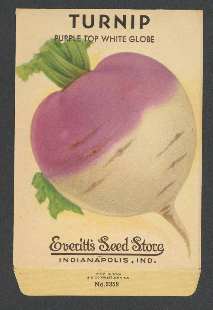 Turnip Vintage Everitt's Seed Packet, Purple Top