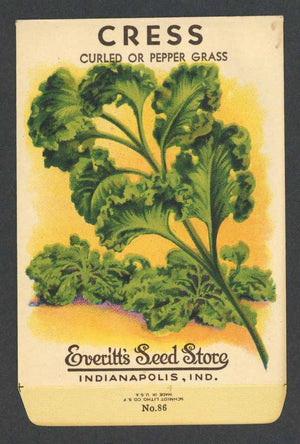 Cress Antique Everitt's Seed Packet, Curled or Pepper Grass