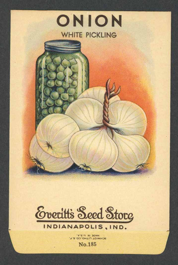 Onion Antique Everitt's Seed Packet, White Pickling