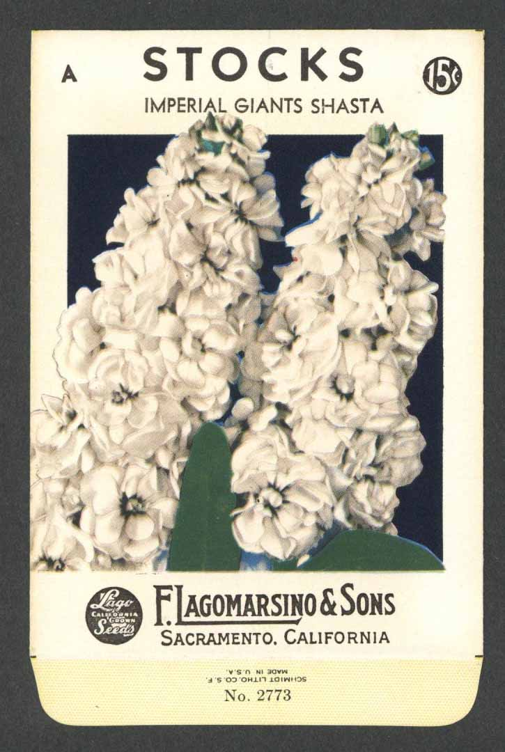 Stocks Vintage Lagomarsino Seed Packet, Imperial Giants Shasta
