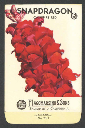 Snapdragon Vintage Lagomarsino Seed Packet, Campfire Red