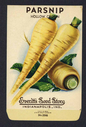 Parsnip Vintage Everitt's Seed Packet, Hollow Crown