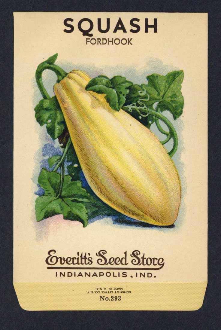 Squash Vintage Everitt's Seed Packet, Fordhook