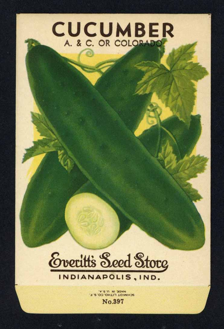 Cucumber Vintage Everitt's Seed Packet, A & C or Colorado
