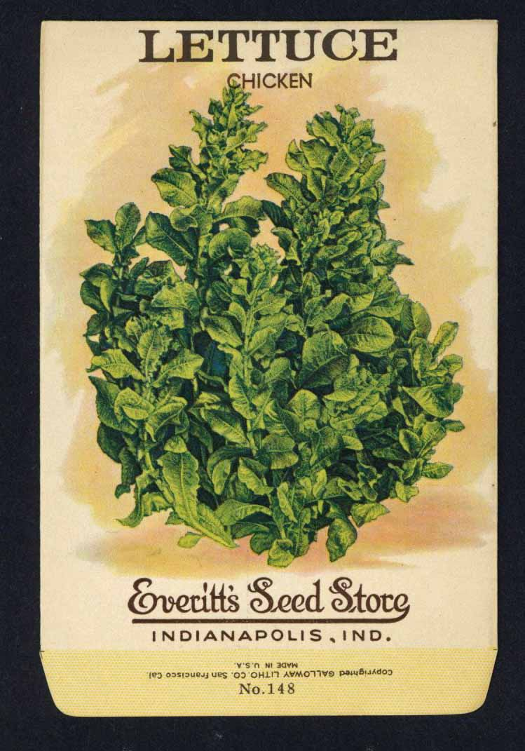 Lettuce Vintage Everitt's Seed Packet, Chicken