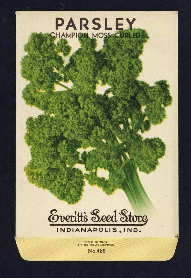 Parsley Vintage Everitt's Seed Packet, Moss Curled