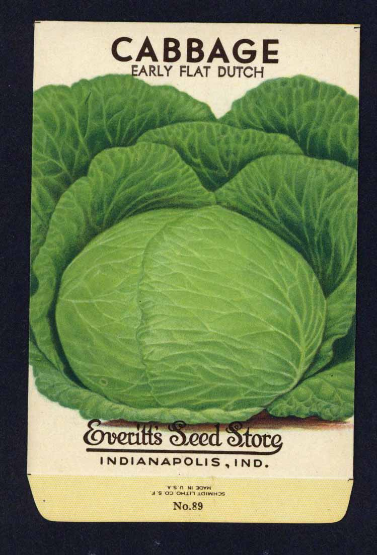 Cabbage Vintage Everitt's Seed Packet, Flat Dutch