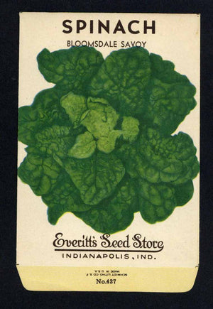 Spinach Vintage Everitt's Seed Packet, Bloomsdale