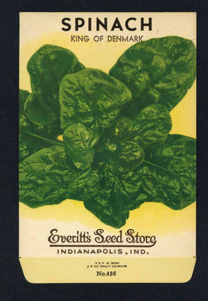Spinach Vintage Everitt's Seed Packet, King Of Denmark