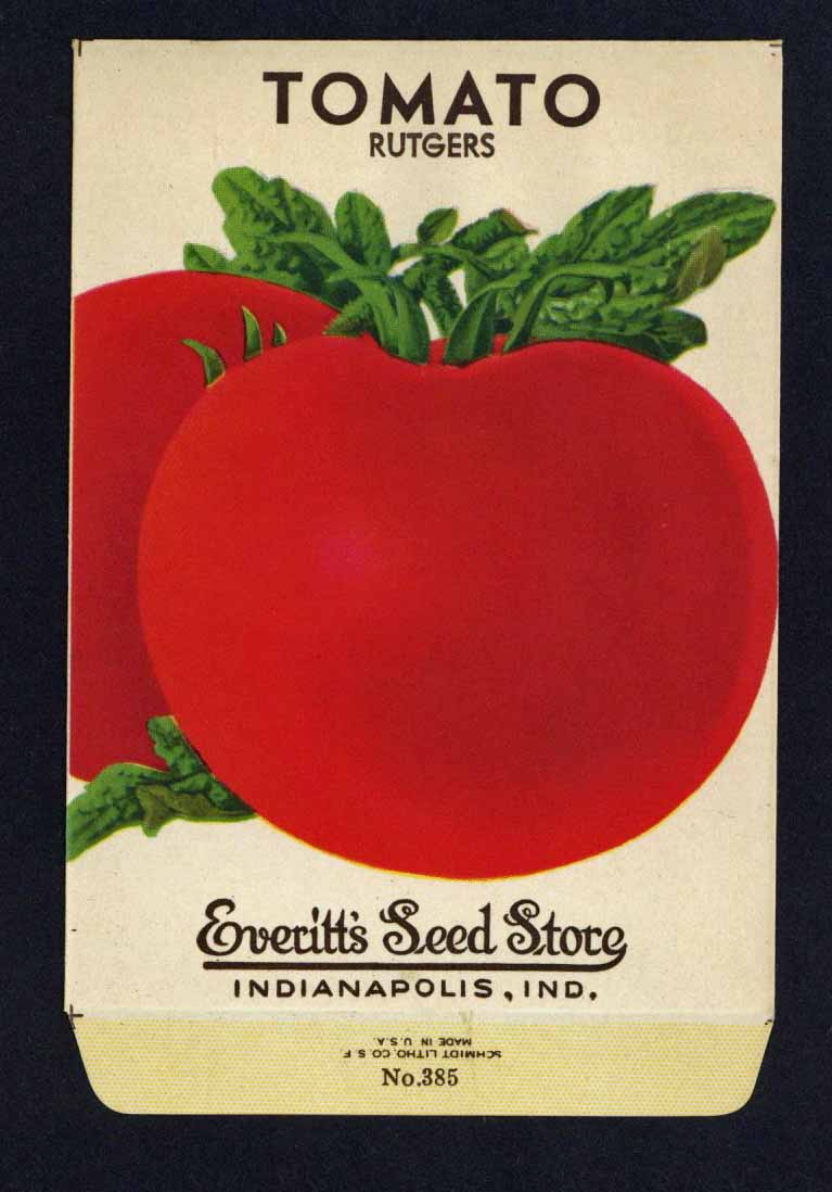 Tomato Vintage Everitt's Seed Packet, Rutgers
