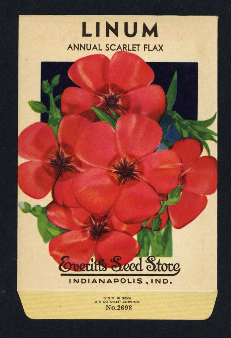 Linum Vintage Everitt's Seed Packet, Scarlet Flax