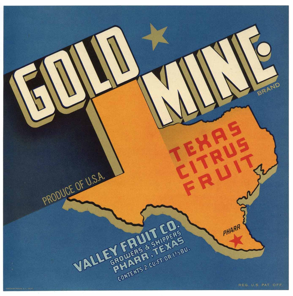 Gold Mine Brand Vintage Pharr Texas Citrus Crate Label