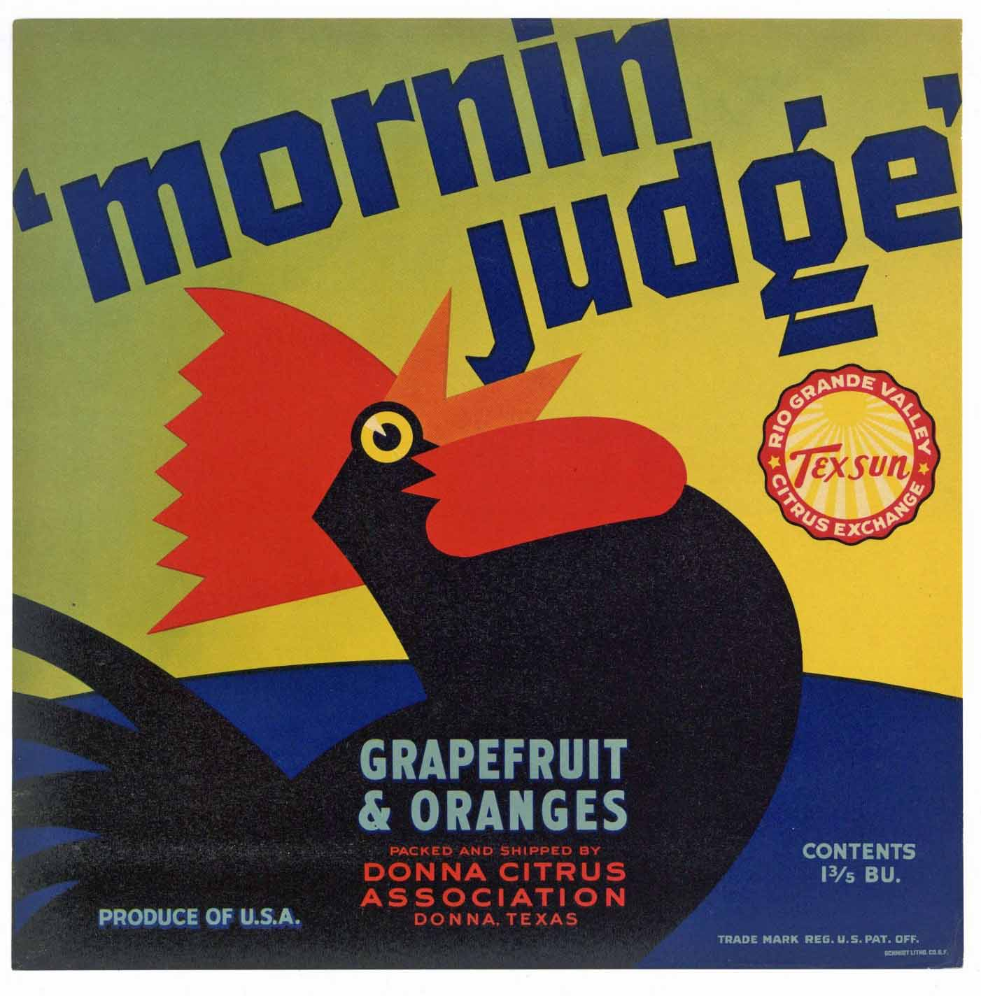 Mornin Judge Brand Vintage Texas Citrus Crate Label