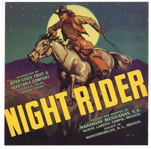 Night Rider Brand Vintage Texas Citrus Crate Label