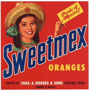 Sweetmex Brand Vintage Weslaco Texas Citrus Crate Label