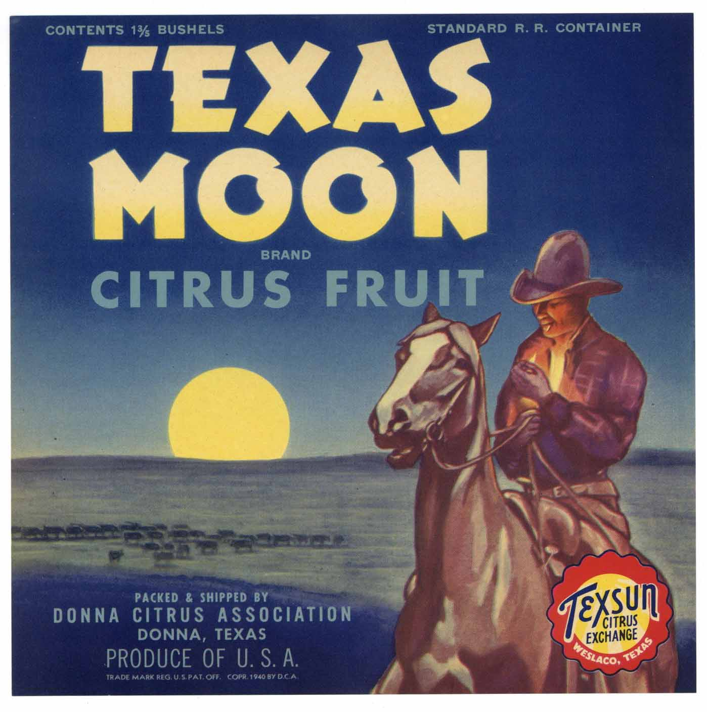 Texas Moon Brand Vintage Donna Texas Citrus Crate Label
