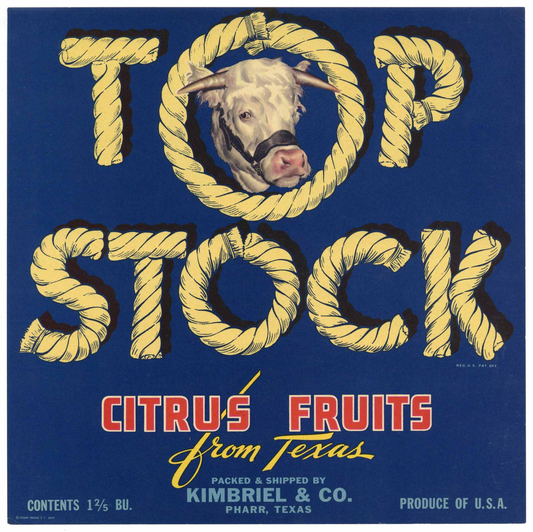 Top Stock Brand Vintage Pharr Texas Citrus Crate Label